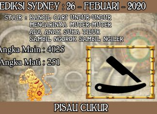 PREDIKSI TOGEL SYDNEY HARI RABU 26 FEBRUARY 2020