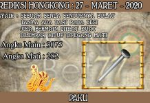 PREDIKSI TOGEL HONGKONG HARI JUMAT 27 MARET 2020
