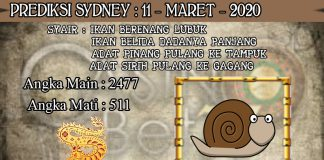 PREDIKSI TOGEL SYDNEY HARI RABU 11 MARET 2020