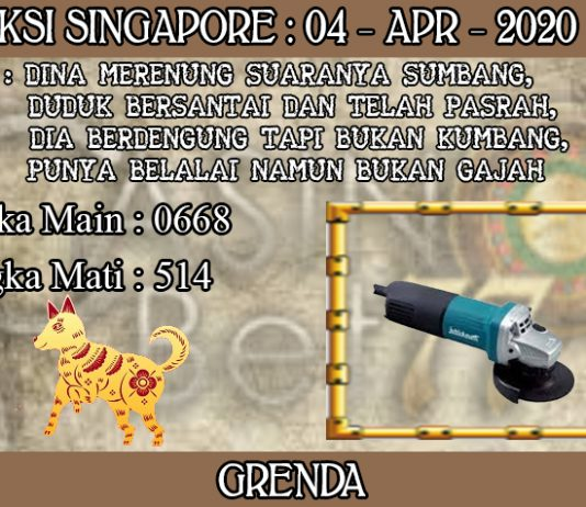 PREDIKSI TOGEL SINGAPORE HARI SABTU 04 APRIL 2020