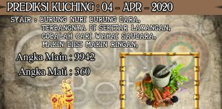 PREDIKSI TOGEL KUCHING HARI SABTU 04 APRIL 2020