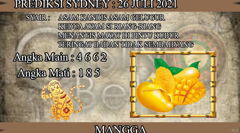 PREDIKSI TOGEL SYDNEY HARI SENIN 26 JULI 2021